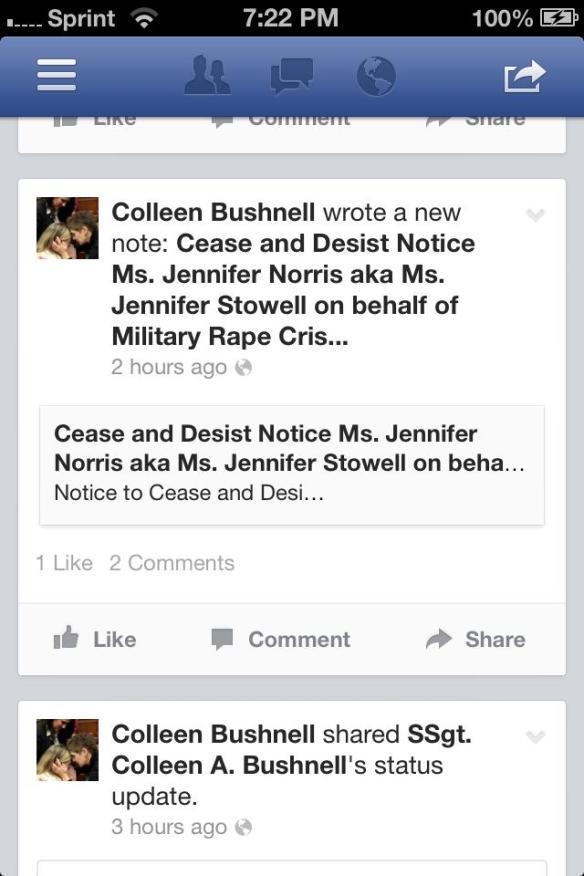 Colleen Bushnell Posts Fake 'Ceast & Desist' Order on Facebook