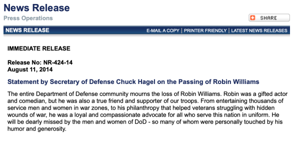 DoD Press Release Robin Williams