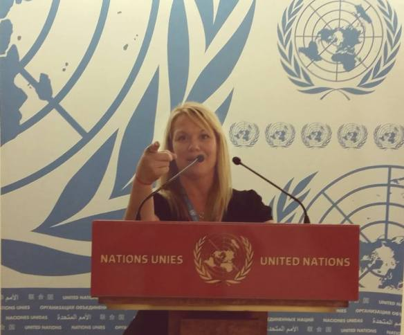 Stephanie Schroeder addressing the United Nations