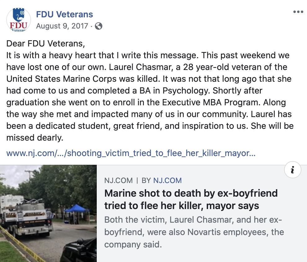 FDU Veterans Facebook Page Laurel Chasmar