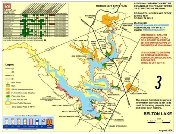 Belton Lake Map