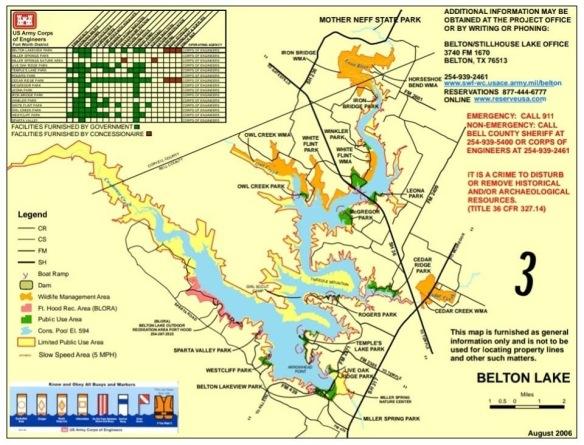 Belton Lake Map